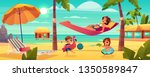 family vacation on tropical... | Shutterstock .eps vector #1350589847