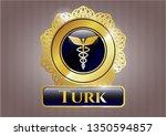 golden badge with caduceus... | Shutterstock .eps vector #1350594857