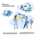 company colleagues who...   Shutterstock .eps vector #1350597074