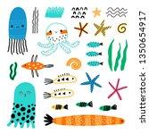cute vector set of children's... | Shutterstock .eps vector #1350654917
