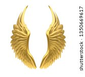 Golden Angel Wings Isolated. 3d ...