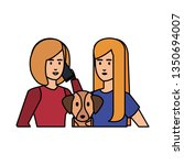 couple girls with dog avatars... | Shutterstock .eps vector #1350694007