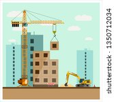 construction site with... | Shutterstock . vector #1350712034