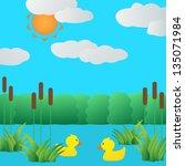 Ducklings In Lake.