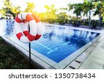 rubber ring at swimming pool...   Shutterstock . vector #1350738434