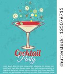 vintage cocktail party... | Shutterstock .eps vector #135076715