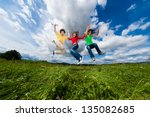 active family   mother and kids ... | Shutterstock . vector #135082685