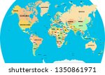 silhouette of a world map with... | Shutterstock .eps vector #1350861971