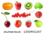 collection of fruits and... | Shutterstock . vector #1350901247