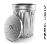 open steel trash can isolated... | Shutterstock . vector #135091424