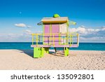colorful lifeguard tower in... | Shutterstock . vector #135092801