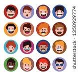 set of cute animal avatars in...   Shutterstock .eps vector #1350929774
