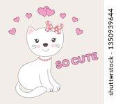 beautiful pretty cat girl...   Shutterstock .eps vector #1350939644