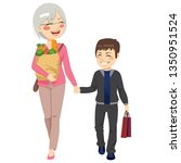 lovely grandmother with grocery ...   Shutterstock . vector #1350951524