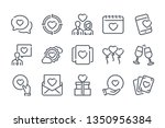 love related line icon set....