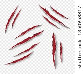 claw scratches set. vector | Shutterstock .eps vector #1350958817