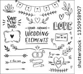 hand drawn doodle wedding... | Shutterstock .eps vector #1350958907