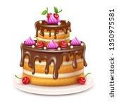 birthday cake with chocolate...   Shutterstock .eps vector #1350975581