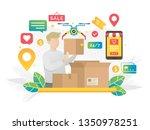 online shopping concept...   Shutterstock .eps vector #1350978251
