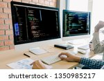 programming and coding... | Shutterstock . vector #1350985217