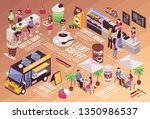 isometric infographics with... | Shutterstock .eps vector #1350986537