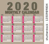 simple 2020 year vector... | Shutterstock .eps vector #1350989804