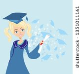 graduation happy girl card | Shutterstock .eps vector #1351011161