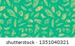 palm branches on the green... | Shutterstock . vector #1351040321