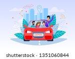 carpool service. weekend... | Shutterstock .eps vector #1351060844
