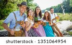five friends having fun on... | Shutterstock . vector #1351064954