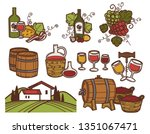 winemaking and winery bottles... | Shutterstock .eps vector #1351067471