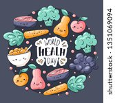 world health day card. healthy... | Shutterstock .eps vector #1351069094