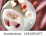 candles and thread spools on... | Shutterstock . vector #1351091477