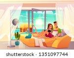 leisure on luxury resort... | Shutterstock .eps vector #1351097744