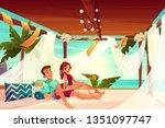 honeymoon in luxury hotel on... | Shutterstock .eps vector #1351097747