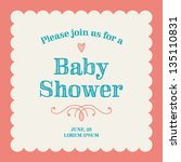 baby shower invitation card... | Shutterstock .eps vector #135110831