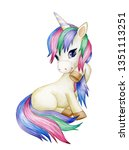 cute sitting unicorn cartoon ... | Shutterstock . vector #1351113251
