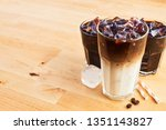 iced coffee and latte macchiato ... | Shutterstock . vector #1351143827