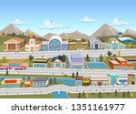 people on the streets of a... | Shutterstock .eps vector #1351161977