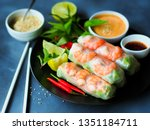 Fresh summer rolls with shrimp and vetgetables,Vietnamese food for healthy food concept.