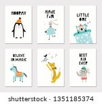 collection of children cards... | Shutterstock .eps vector #1351185374
