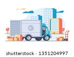 flat car delivery with modern... | Shutterstock .eps vector #1351204997