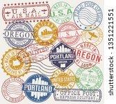portland oregon set of stamps....   Shutterstock .eps vector #1351221551