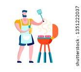 man grilling sausages flat... | Shutterstock .eps vector #1351222037