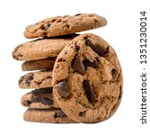 stacked chocolate chip cookies...   Shutterstock . vector #1351230014
