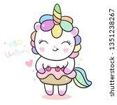 Stock vector cute unicorn vector cake happy birthday kawaii pony cartoon hand drawn isolated on a white 1351238267