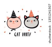 cat party. funny cats in ... | Shutterstock .eps vector #1351241507
