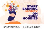 flat banner start earning money ... | Shutterstock .eps vector #1351261304