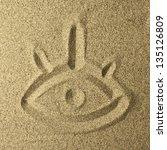 eye handwriting in the sand   Shutterstock . vector #135126809