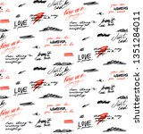 seamless pattern with words and ...   Shutterstock .eps vector #1351284011